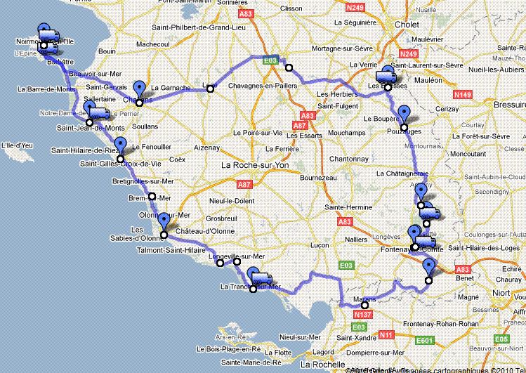Carte Itineraire De Visite Vendee