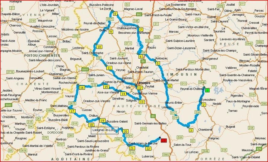Carte Touristique Haute Vienne.Itineraires Voyages Limousin Haute Vienne