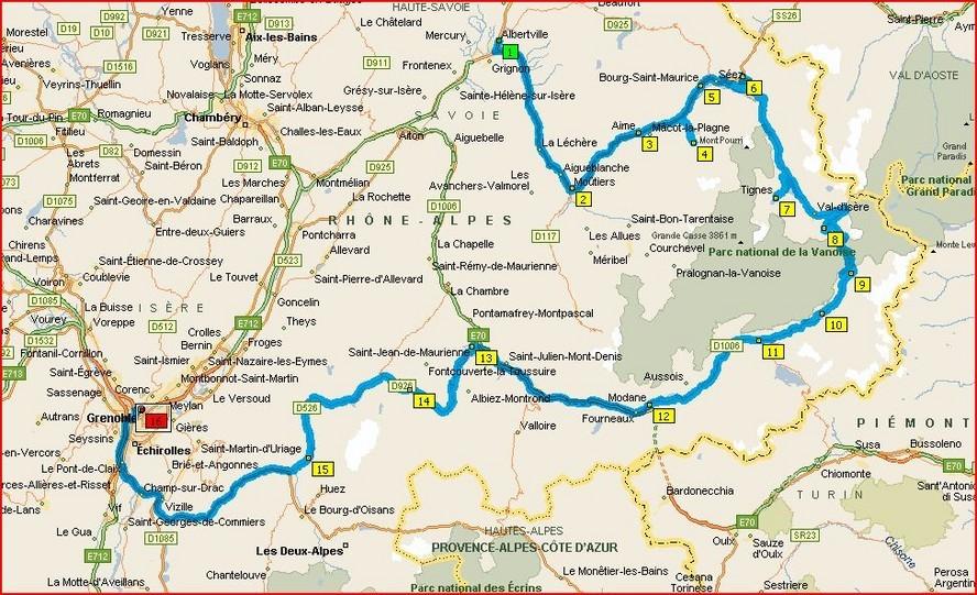 vallée de la tarentaise carte itinéraires, Rhône Alpes, Alpes, Maurienne, Tarentaise
