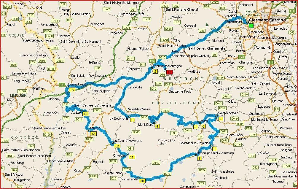 puy de sancy carte Tour du massif du Sancy