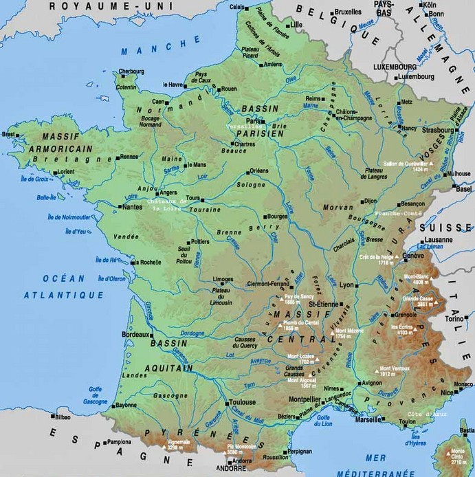 Carte hydrographie France