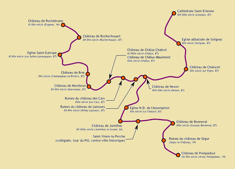 Route Richard Coeur de Lion : Etapes