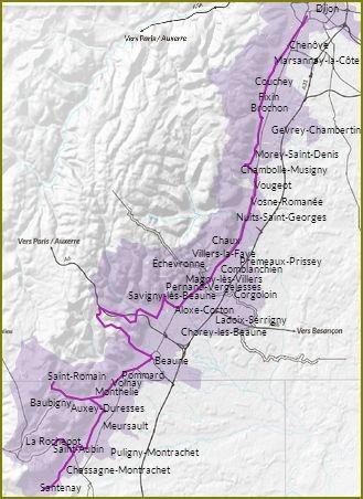 Carte De Bourgogne Route Des Vins.La Route Des Vins De Bourgogne